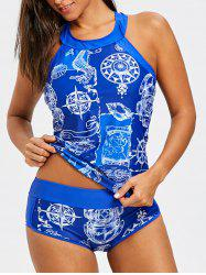 Cut Out Compass Print Tankini Set -