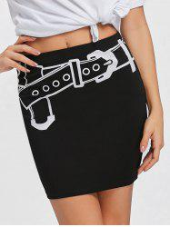 Belt Illusion Pattern Tight Skirt -