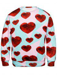 Diamond Heart Print Valentine's Day Sweatshirt -
