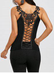 Lace Appliqued Lattice Cut Back Tank Top -