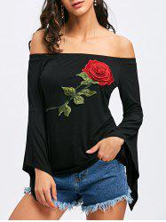 Off The Shoulder Flare Sleeve Embroidery T-shirt -