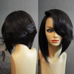 Medium Deep Side Parting Straight Flip Inverted Bob Synthetic Wig -