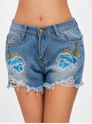 Frayed Hem Embroidery Ripped Denim Shorts -