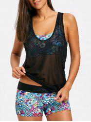 Mesh Three Piece Printed Tankini Set -