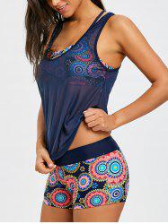Three Piece Aztec Print Mesh Tankini Set -