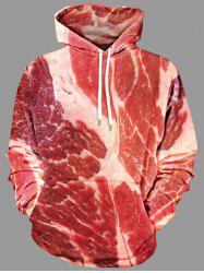 Plus Size Raw Meat Drawstring Hoodie -