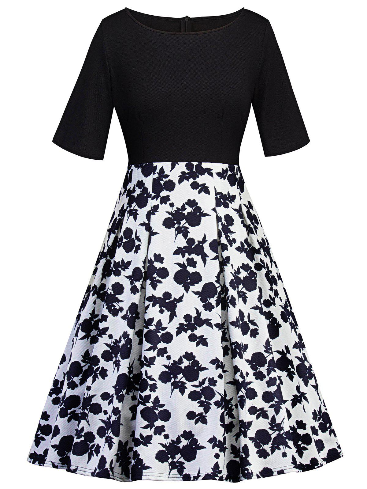 Outfits Half Sleeve Floral Insert Vintage Flare Dress