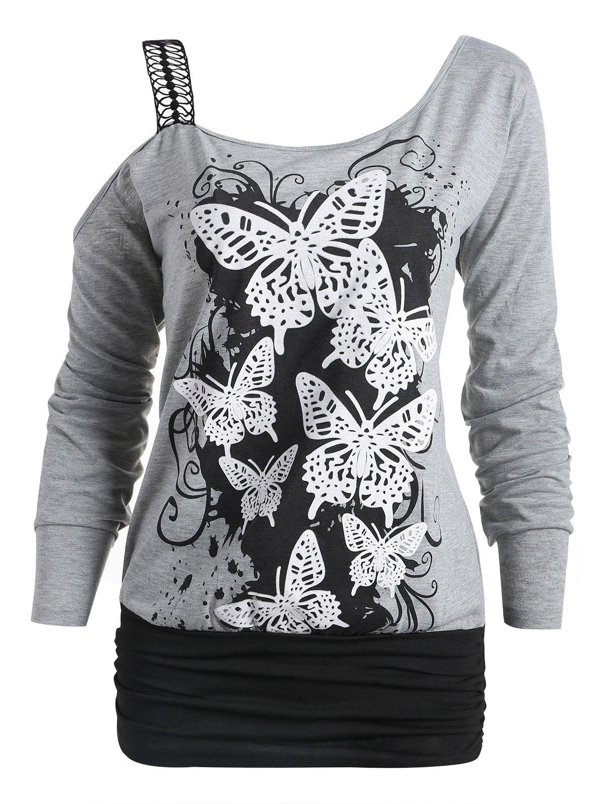 2019 Butterfly Print One Cold Shoulder Long Sleeve T-shirt  090d6a446c3c