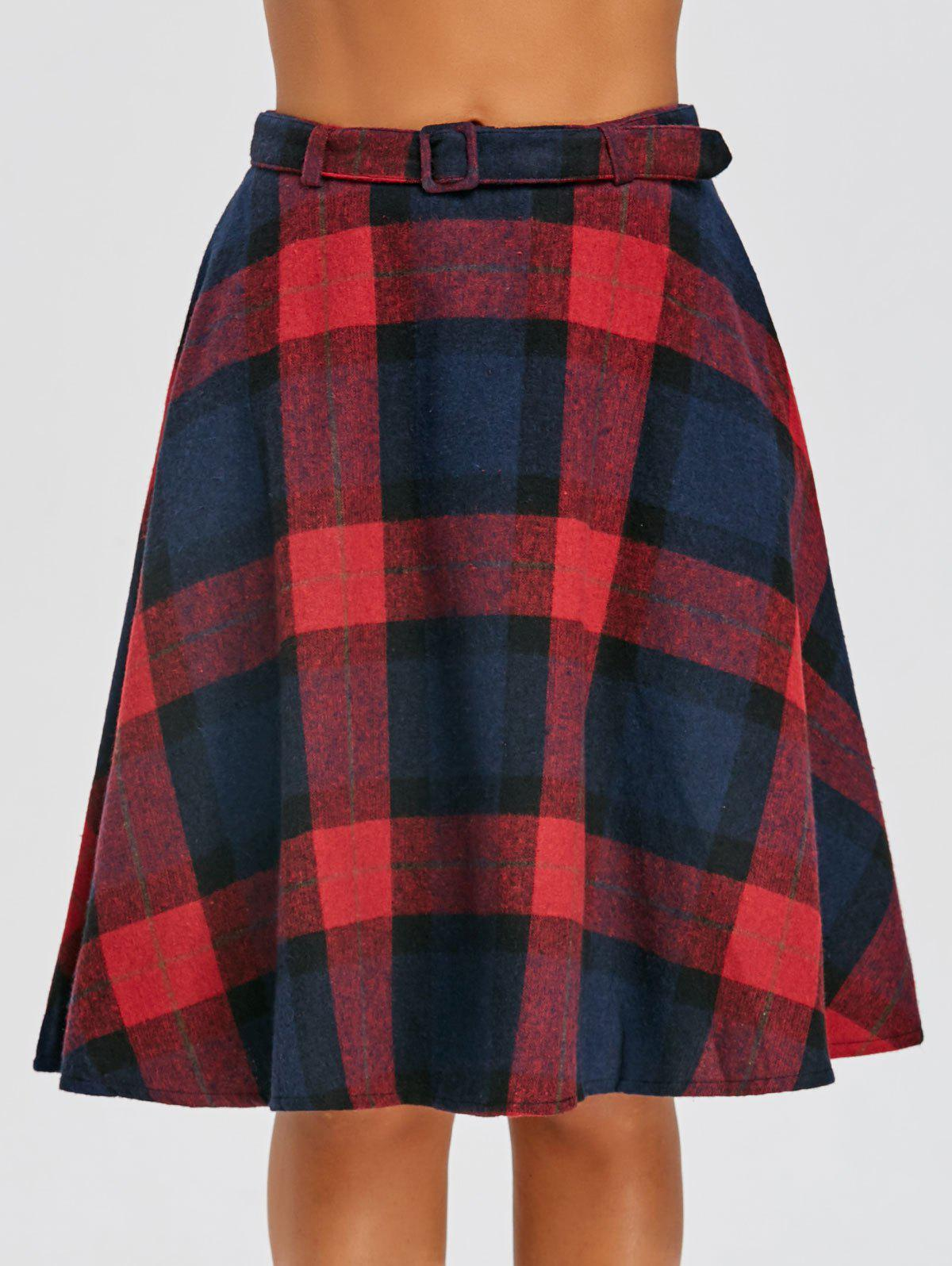 Online High Waist Plaid A Line Skirt
