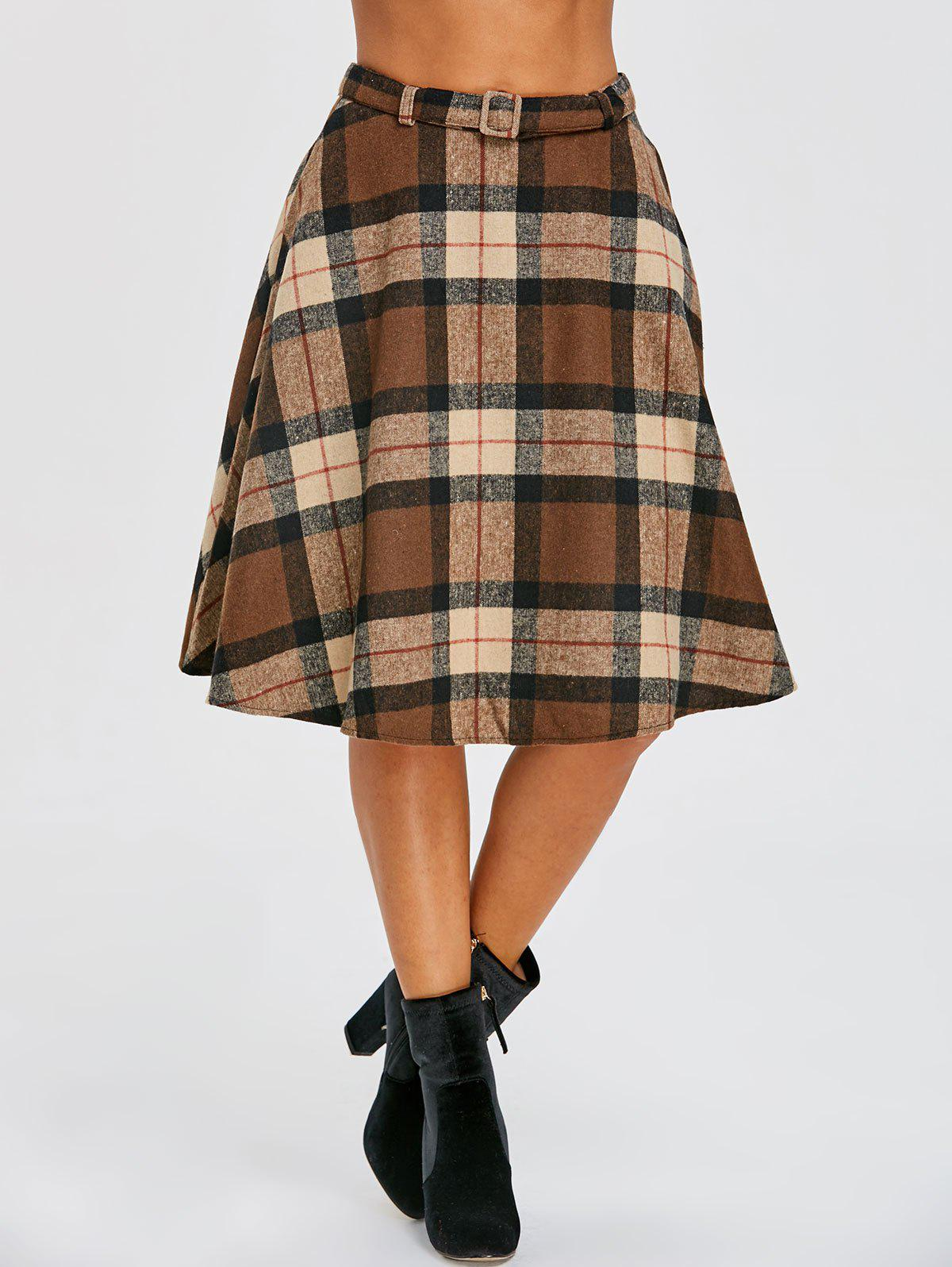Outfits High Waist Plaid A Line Skirt