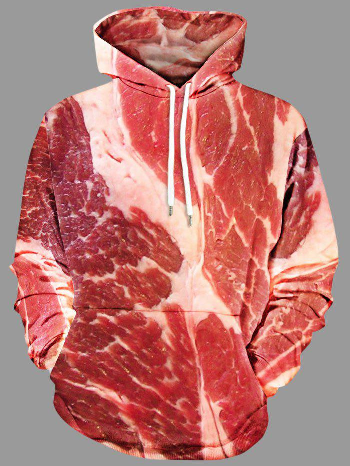Discount Plus Size Raw Meat Drawstring Hoodie