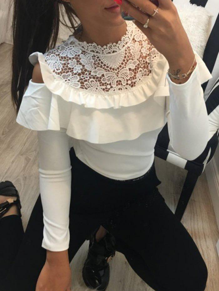 Store Lace Panel Ruffle Long Sleeve Top