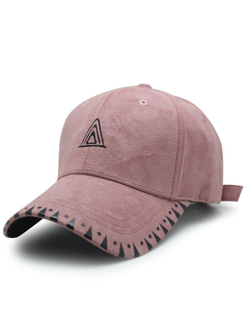 Unique Faux Suede Baseball Hat with Triangle Embroidery
