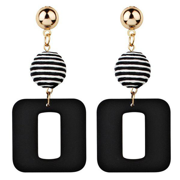 Shop Retro Striped Ball and Geometric Acrylic Drop Earrings