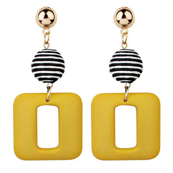 Unique Retro Striped Ball and Geometric Acrylic Drop Earrings