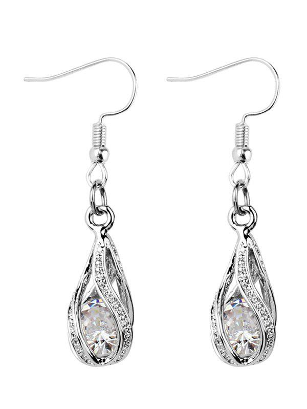 Fashion Faux Diamond Inlay Hollow Out Drop Earrings