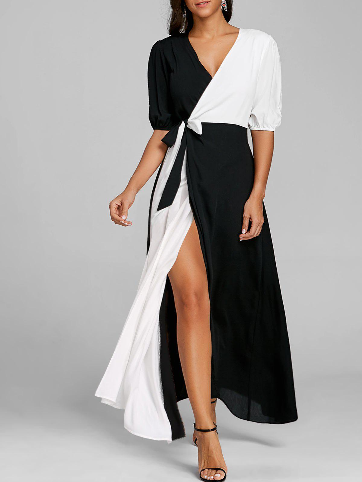 edc42c93cfb7 54% OFF   2019 Puff Sleeve High Slit Color Block Maxi Dress ...