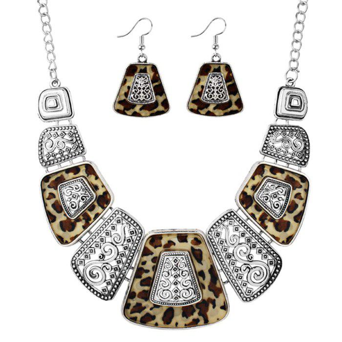 Fashion Vintage Exaggerated Leopard Pendant Necklace and Drop Earrings Set