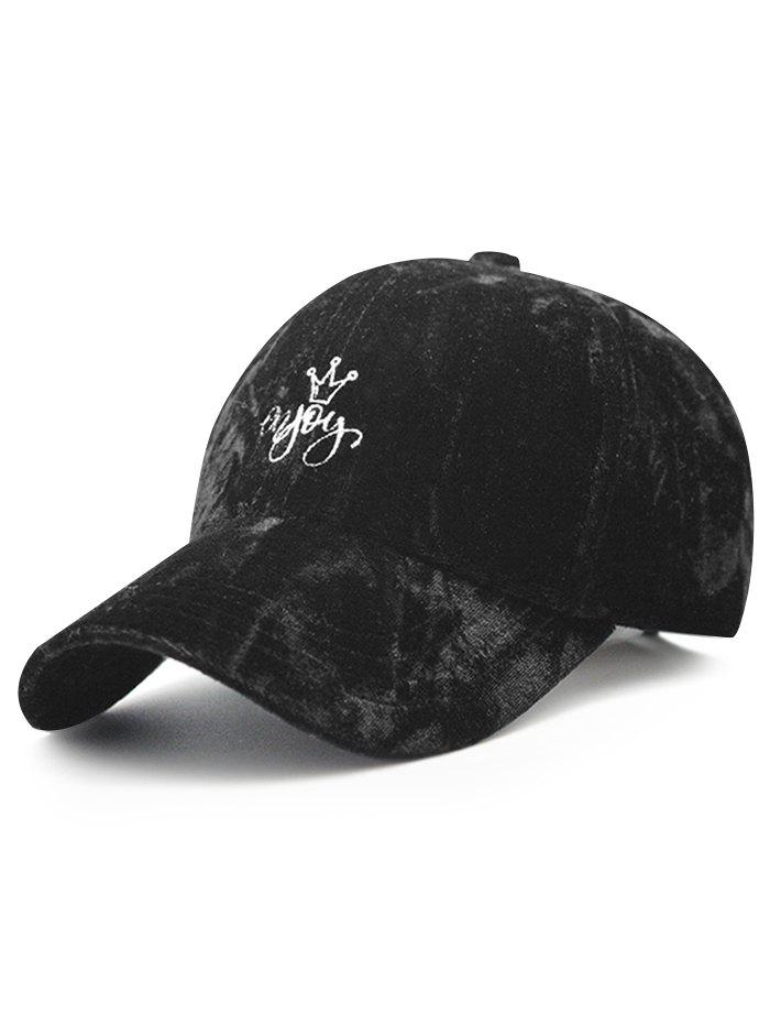 Trendy Velvet Baseball Hat with Yoy Crown Embroidery