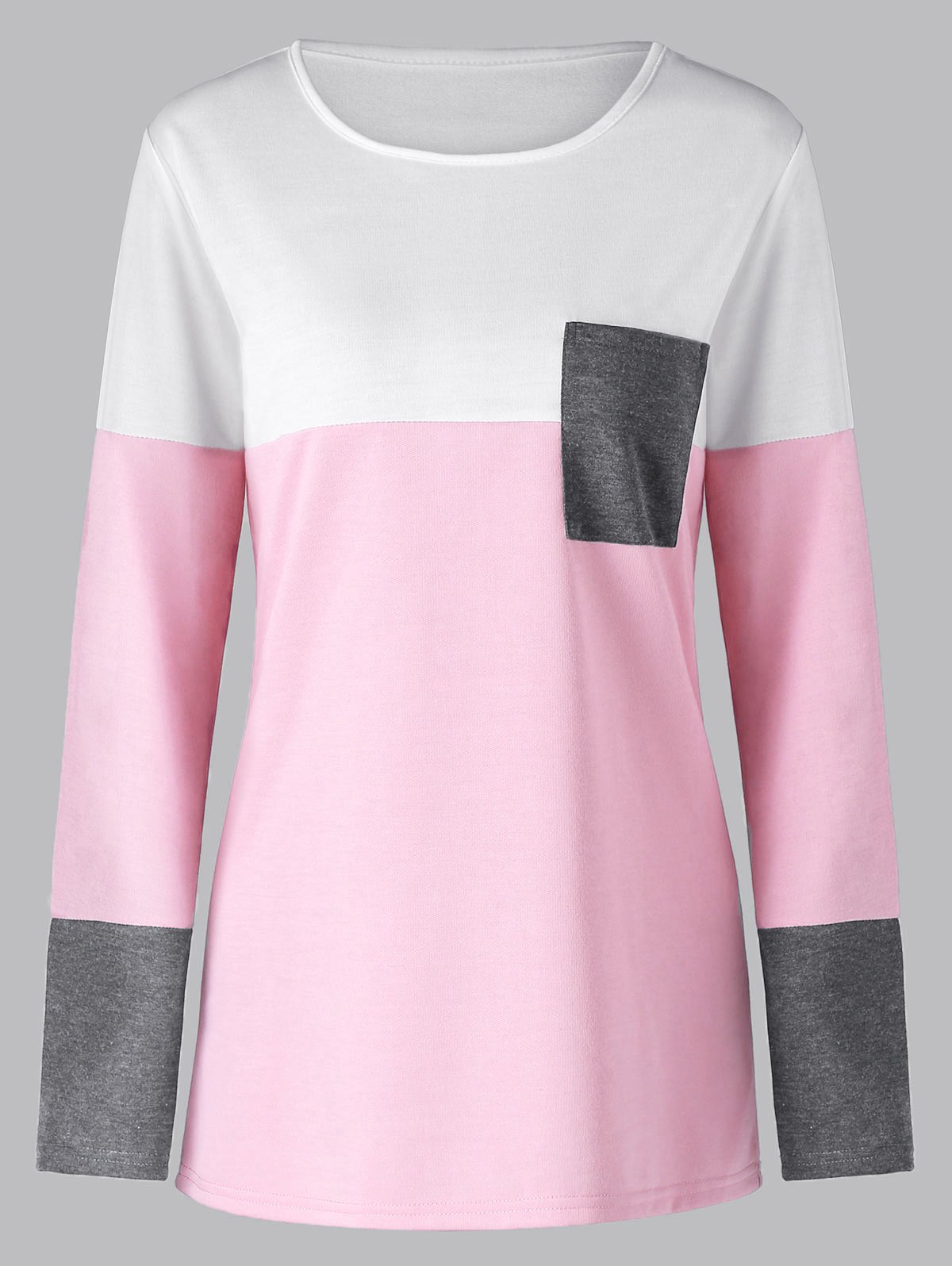 Affordable Color Block Long Sleeve Tunic Top