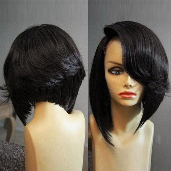 Cheap Medium Deep Side Parting Straight Flip Inverted Bob Synthetic Wig