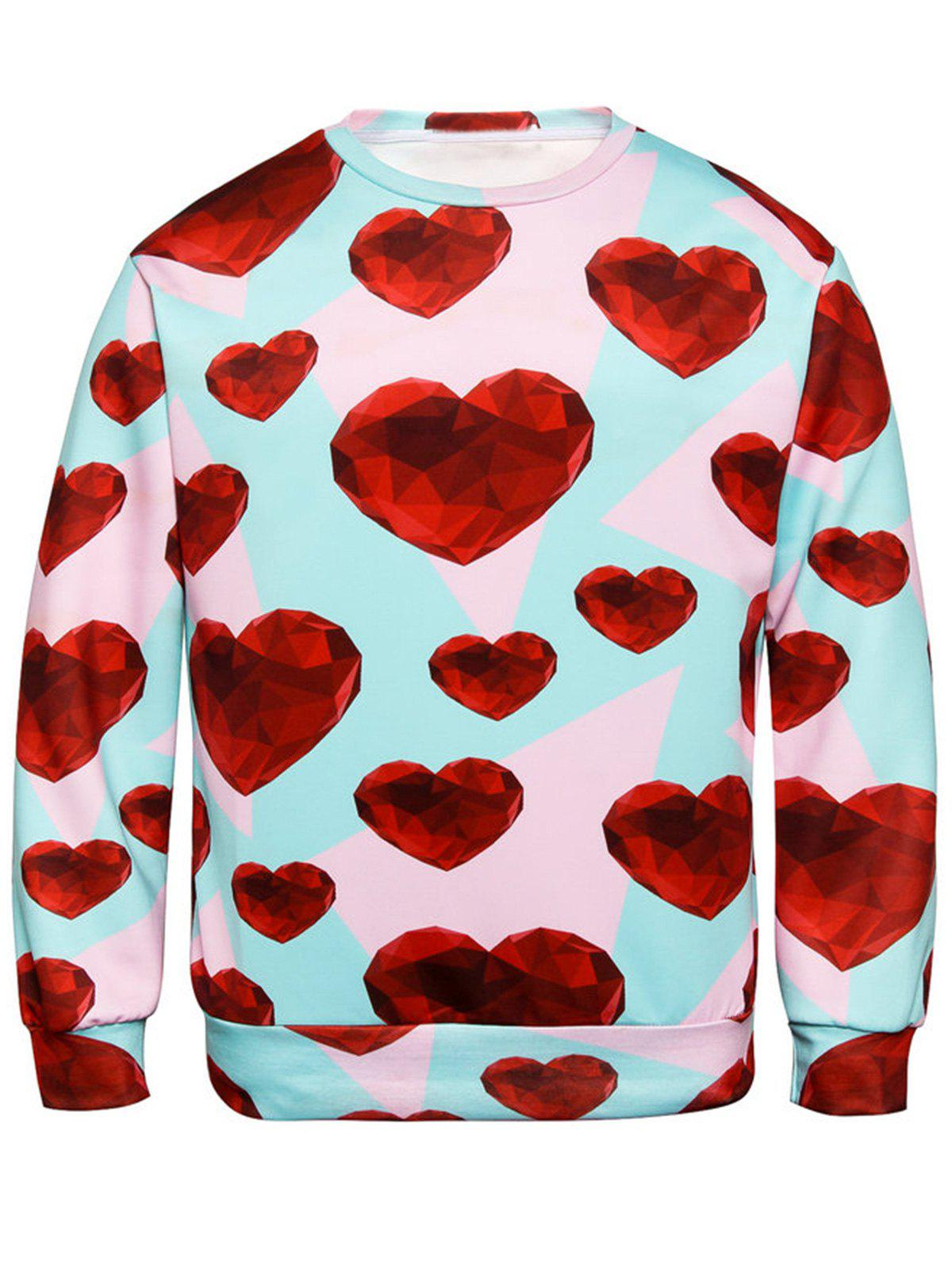 Trendy Diamond Heart Print Valentine's Day Sweatshirt