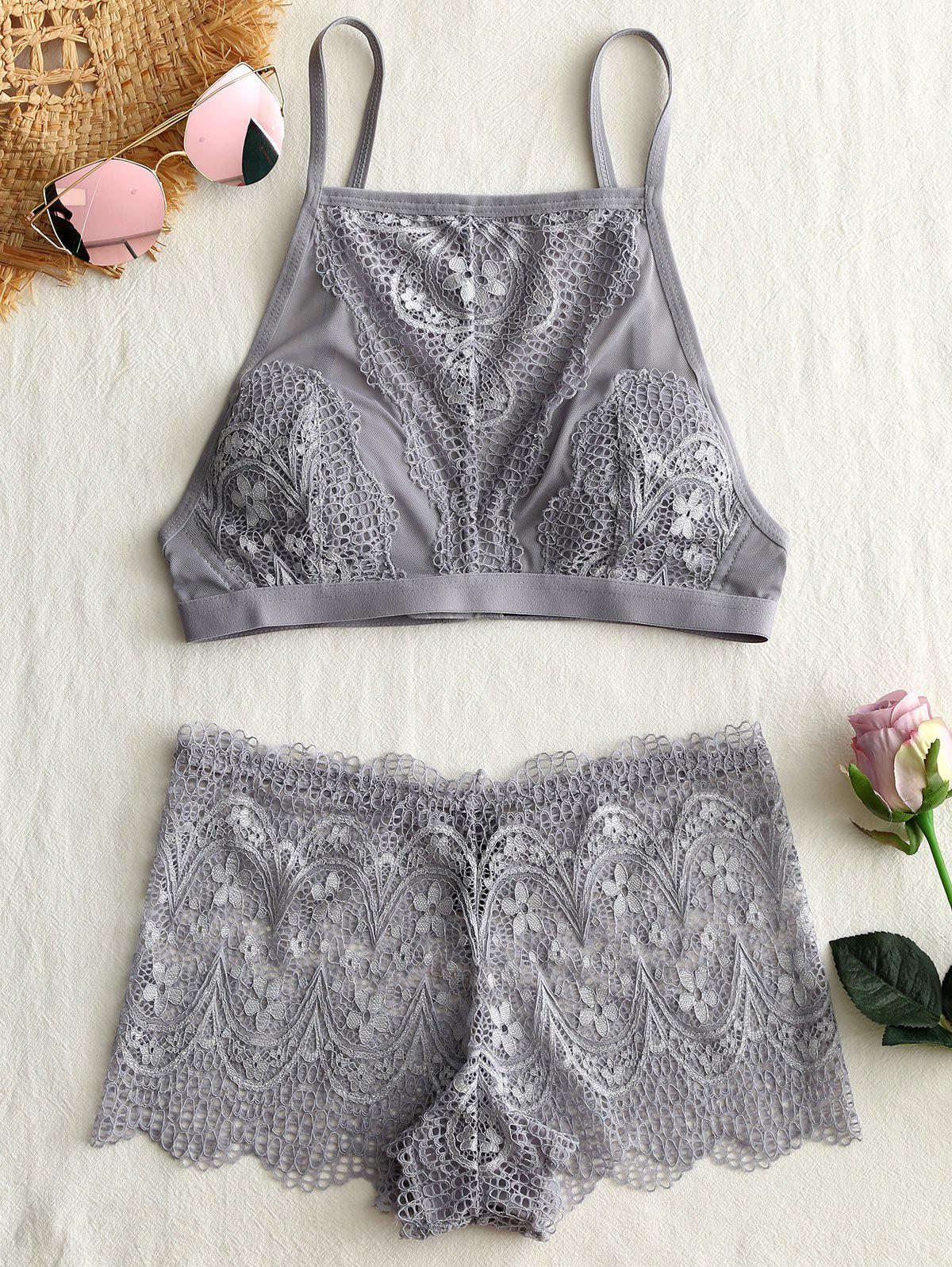 Fancy Mesh Lace Sheer Bra Set