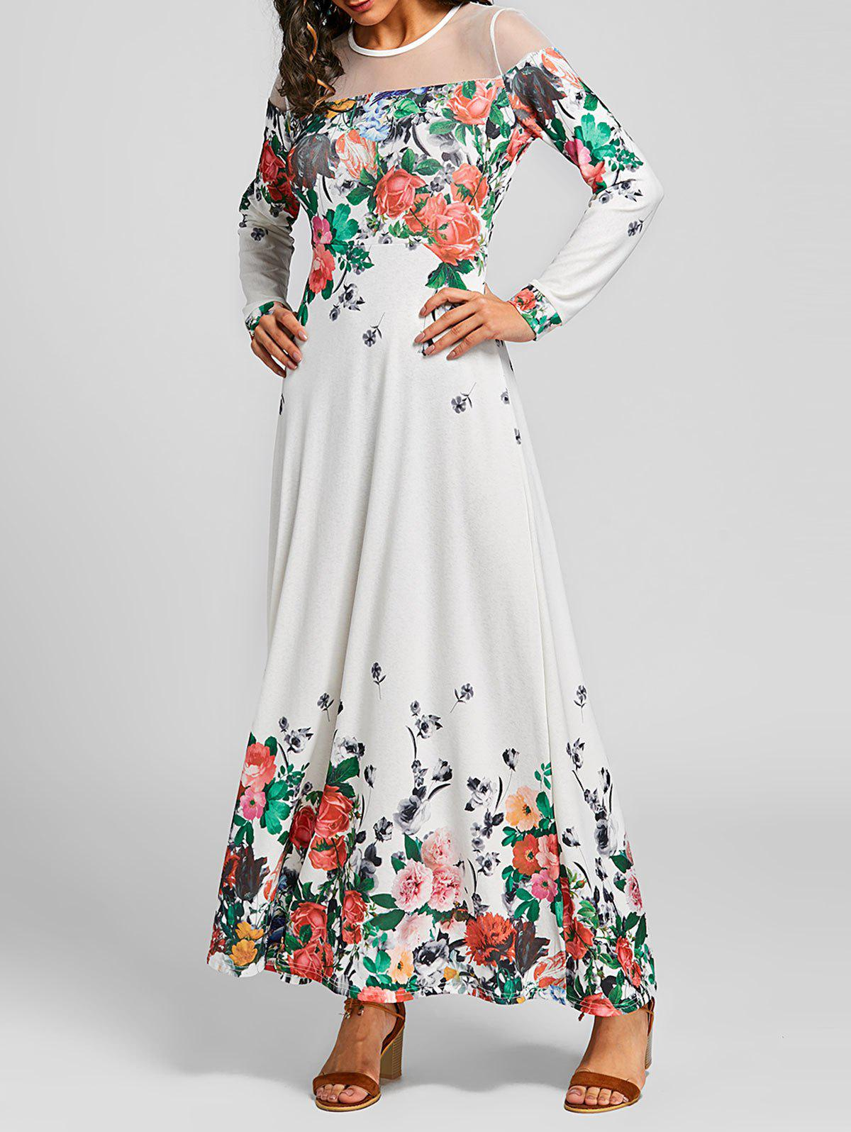 Affordable Mesh Insert Floral Maxi Dress