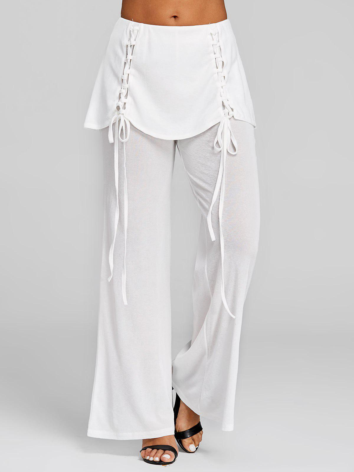 Outfit Lace Up Skirted Palazzo Pants