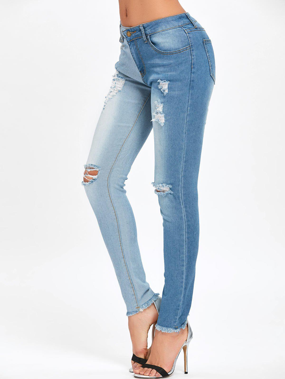Cheap Two Tone Color Ripped Jeans
