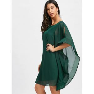 Bell Sleeve Mini Chiffon Shift Dress -