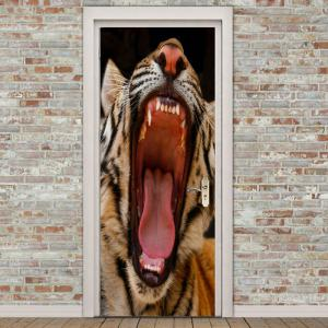 Angry Tiger Patterned Decorative Door Stickers -