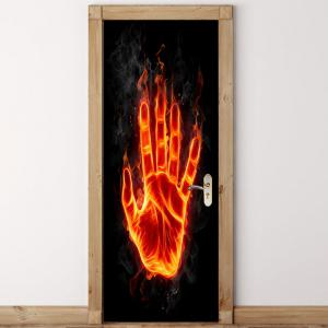 Flame Palm Printed Door Art Stickers -