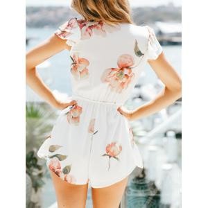 Layered Short Sleeve Floral Print Romper -
