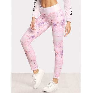 Leaf Print Fitted Leggings -