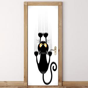 Wall Climbing Cat Patterned Door Stickers -