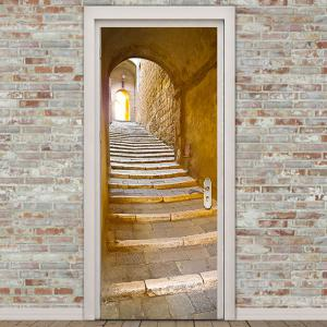 Stairs Entrance Print Door Stickers -