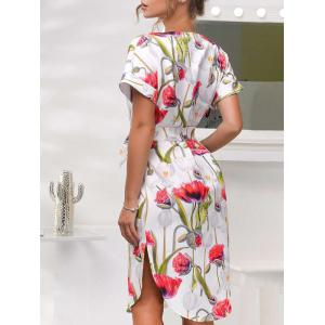 Short Sleeve Belted Floral Dress -
