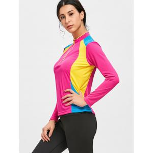 Color Black Half Zip Cycling T-shirt -