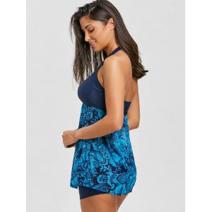 Sheer Print Mesh Skirted Tankini Set -
