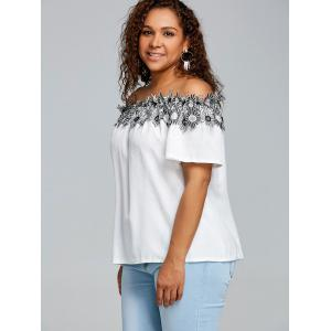 Plus Size Off The Shoulder Floral Applique Blouse -