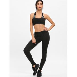 Striped T-shirt Bra Shorts and Leggings Sports Suit -