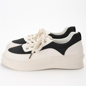 Round Toe Suede Panel Platform Sneakers -