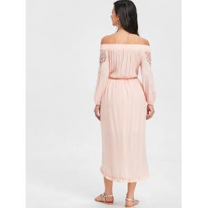 Off The Shoulder Flounce High Low Maxi Dress -