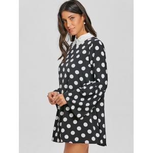 Flat Collar Bell Sleeve Polka Dot Mini Dress -
