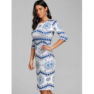 Blue and White Porcelain Bodycon Dress -