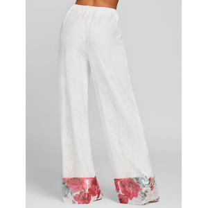 Lace Floral High Waisted Wide Leg Pants -