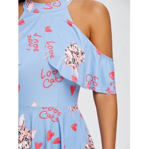 Cold Shoulder Cat Hearts Print Swimdress -