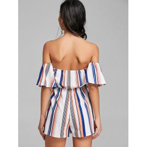 Striped High Waist Off Shoulder Romper -