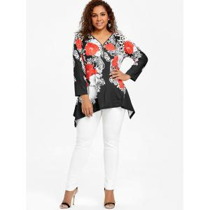 Plus Size Half Zip Up Asymmetric Leopard  T-shirt -